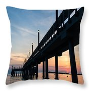 Staring At The Sun - Sunrise On The Beach Throw Pillow