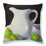Stark White With Green Throw Pillow