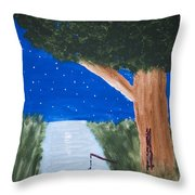 Starlight Fishing Throw Pillow by Melissa Dawn