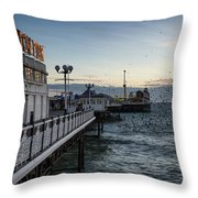 Starling Murmuration Over Brighton Pier In England Throw Pillow