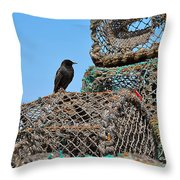 Starling On Lobster Pots Throw Pillow