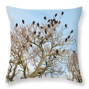 Starlings For Leaves - Sturnus Vulgaris Throw Pillow