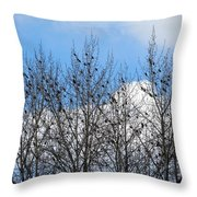 Starlings In The Cottonwoods Throw Pillow