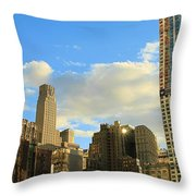 Manhattan Skyline Here Comes The Sun Throw Pillow by Dan Sproul
