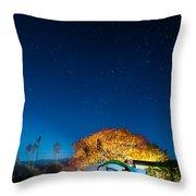 Starry Camp Fire Throw Pillow