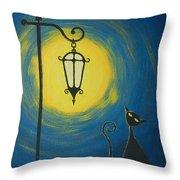 Starry Cat Night Throw Pillow