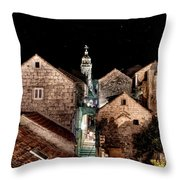 Starry Night Above The Rooftops Of Korcula Throw Pillow
