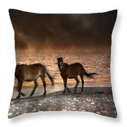 Starry Night Beach Horses Throw Pillow