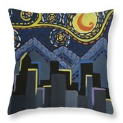 Starry Night Cityscape Throw Pillow
