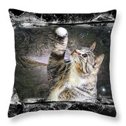 Starry Night Kitty Style Splash Throw Pillow