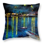 Starry Night Over The Rhone River Throw Pillow