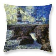 Starry Hook Head Lighthouse Throw Pillow