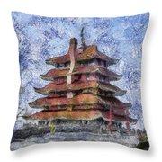 Starry Starry Pagoda Night Throw Pillow