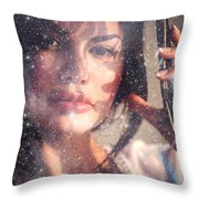 Starry Woman Throw Pillow