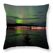 Stars And Northern Lights Over Dark Road At Lake Throw Pillow