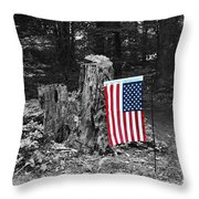 Stars And Stripes With Selective Color Throw Pillow
