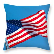 Stars And Stripes Waving Throw Pillow