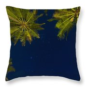 Stars At Night With Palm Tree Thalpe Throw Pillow