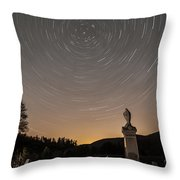 Stars Trails Over Cemetery Throw Pillow