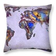 Stars World Map Space Throw Pillow