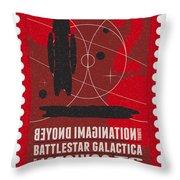 Starschips 02-poststamp - Battlestar Galactica Throw Pillow