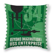 Starschips 34-poststamp - Uss Enterprise Throw Pillow by Chungkong Art