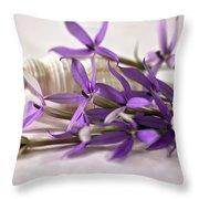 Starshine Laurentia Flowers And White Shell Throw Pillow