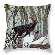 Startled Buck - White Tail Deer Throw Pillow