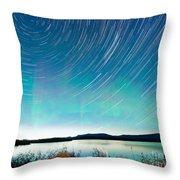 Startrails Aurora Borealis Display Lake Laberge Throw Pillow