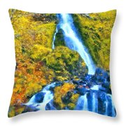 Starvation Creek Falls Throw Pillow
