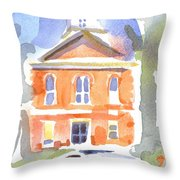 Stately Courthouse With Police Car Throw Pillow