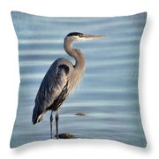Stately-great Blue Heron Throw Pillow