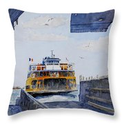 Staten Island Ferry Docking Throw Pillow by Anthony Butera