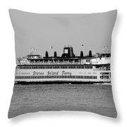 Staten Island Ferry In Black And White Throw Pillow