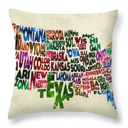 States Of United States Typographic Map - Parchment Style Throw Pillow