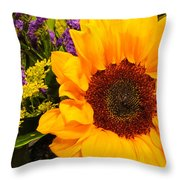 Statice And Sunflower Throw Pillow