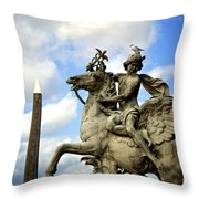Statue . Place De La Concorde. Paris. France Throw Pillow by Bernard Jaubert