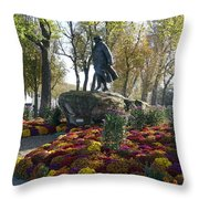 Statue And Flower Bed Across The Street From The Grand Palais Off Of Champs Elysees Throw Pillow