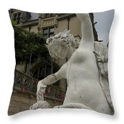 Statue At Biltmore Estate Throw Pillow