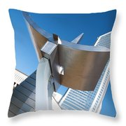 Statue At Charlotte City Street Entrance On North Tryon Throw Pillow