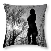 Statue At Dusk Throw Pillow