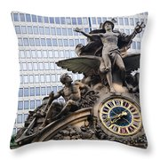 Statue At Grand Central Station Throw Pillow