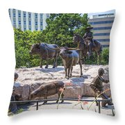 Statue At The Capital In Austin Tx  Throw Pillow