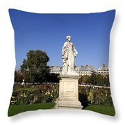 Statue At The Jardin Des Tuileries In Paris France Throw Pillow