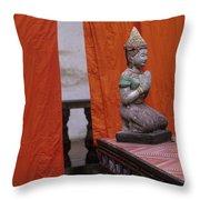 Statue At Wat Phnom Penh Cambodia Throw Pillow