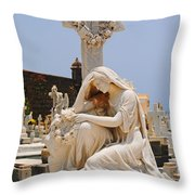 Statue Mourning Woman Throw Pillow