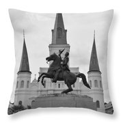 Statue Of Andrew Jackson In Black And White Throw Pillow
