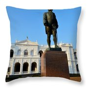 Statue Of Gregory Outside National Museum Colombo Sri Lanka Throw Pillow