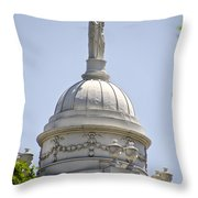 Statue Of Justice On Top Of New York City Hall Throw Pillow