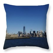 Statue Of Liberty And Manhattan Throw Pillow